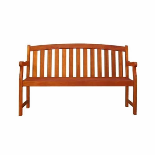 Wood Outdoor Bench in Brown-Pemberly Row Perspective: front