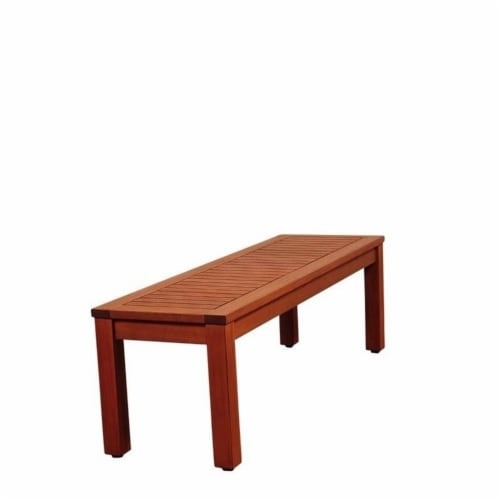 Pemberly Row Outdoor Bench in Brown Perspective: front