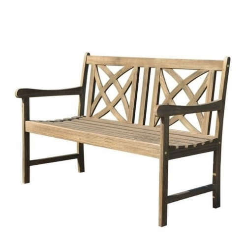 Wood Outdoor Bench in Natural Brown-Pemberly Row Perspective: front