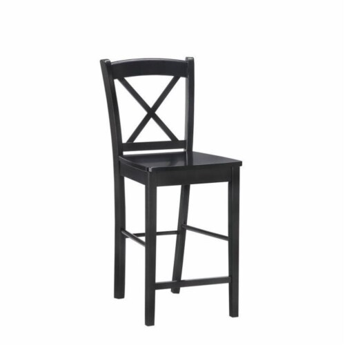 Pemberly Row 30  Bar Stool in Black and Rich Espresso Perspective: front