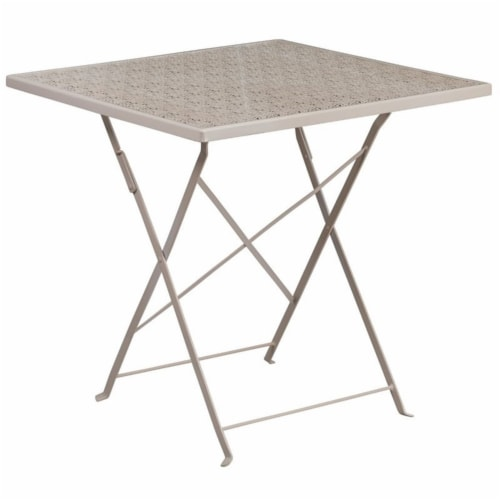 Scranton & Co 28  Square Folding Patio Dining Table in Light Gray Perspective: front