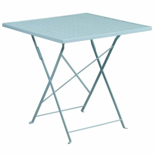 Scranton & Co 28  Square Folding Patio Dining Table in Sky Blue Perspective: front