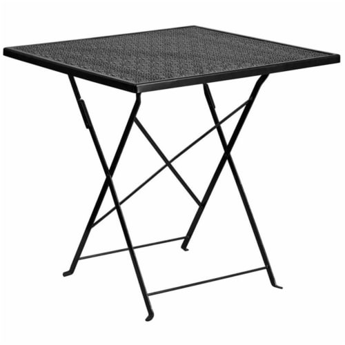 Scranton & Co Square Metal Folding Patio Dining Table in Black Perspective: front