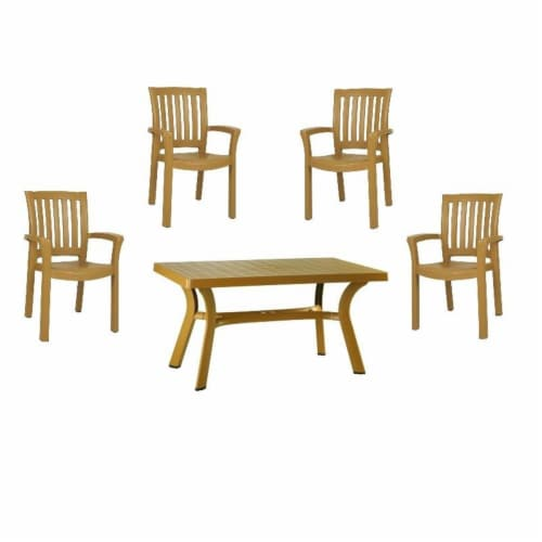 """5 Piece 55"""""""" Resin Patio Dining Table with 4 Resin Dining Arm Chair Set in Brown Perspective: front"""