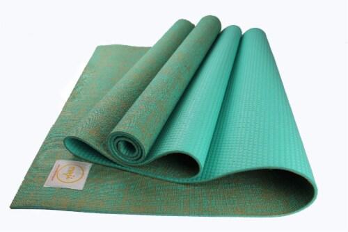 Jute Premium ECO Yoga Mat (Turquoise) Perspective: front