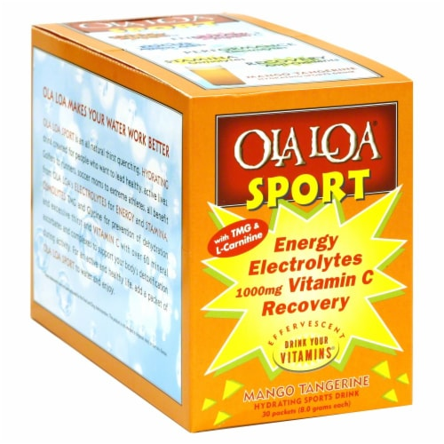 Ola Loa Sport Mango Tangerine Energy Drink Packets Perspective: front