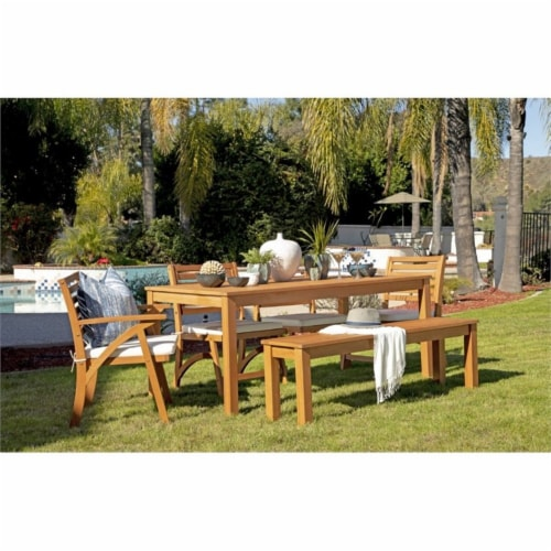 Stonecroft Furniture Nathan 6 Piece Wood Outdoor Dining Set in Brown Perspective: front