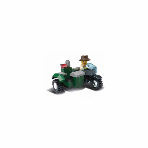 Sidecar Motorcycle Expedition Building Brick Set (39pcs) Perspective: front