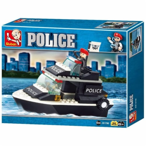Sluban 1700  Police Patrol Boat Building Brick Kit (98 pcs) Perspective: front