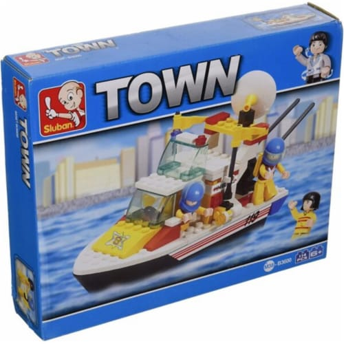 Sluban 3600  Town Rescue Boat Building Brick Kit (114 pcs) Perspective: front