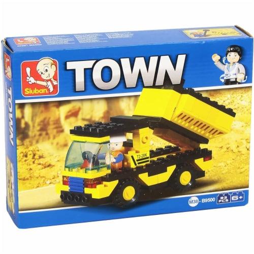 Yellow Town Dump Truck Building Brick Kit (93pcs) Perspective: front