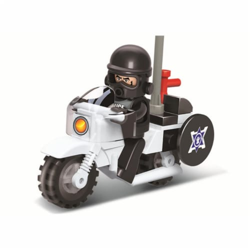 Riot Police Motorcycle Building Brick Kit (24 pcs) Perspective: front