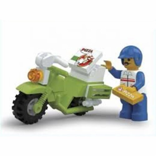 Pizza Delivery Motorcycle Building Brick (25 pcs) Perspective: front