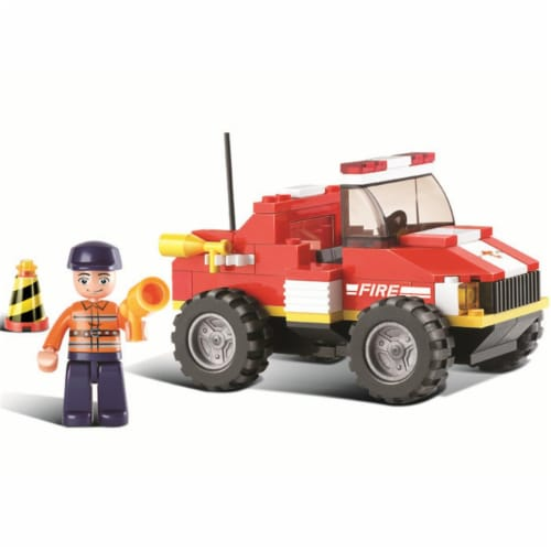 Sluban 217  Mini Rescue Fire Truck Building Brick Kit (118 pcs) Perspective: front