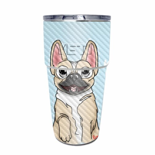 MightySkins CF-YEPINT16SI-Frenchie Love Carbon Fiber Skin for Yeti Rambler 16 oz Stackable Cu Perspective: front