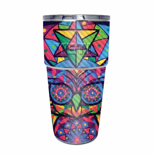 MightySkins CF-YEPINT16SI-Goodnight Owl Carbon Fiber Skin for Yeti Rambler 16 oz Stackable Cu Perspective: front