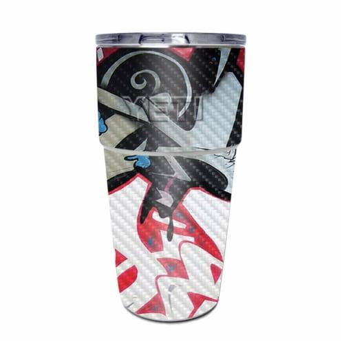 MightySkins CF-YEPINT16SI-Graffiti Mash Up Carbon Fiber Skin for Yeti Rambler 16 oz Stackable Perspective: front