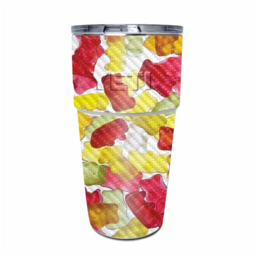 MightySkins CF-YEPINT16SI-Gummy Bears Carbon Fiber Skin for Yeti Rambler 16 oz Stackable Cup Perspective: front