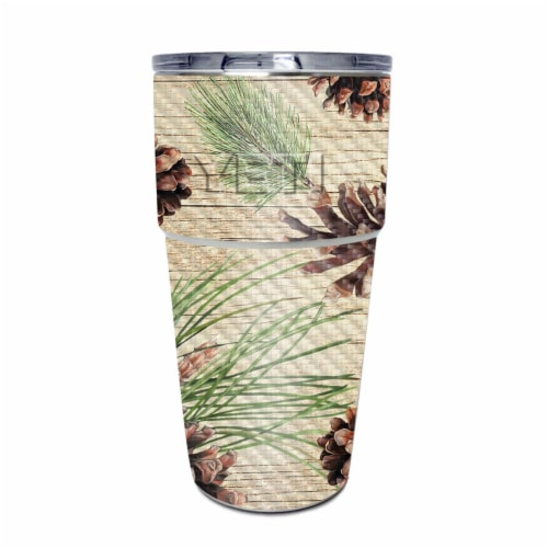MightySkins CF-YEPINT16SI-Pine Collage Carbon Fiber Skin for Yeti Rambler 16 oz Stackable Cup Perspective: front