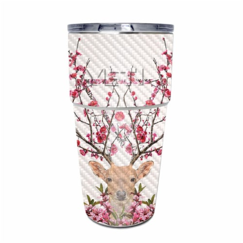 MightySkins CF-YEPINT16SI-Spring Deer Carbon Fiber Skin for Yeti Rambler 16 oz Stackable Cup Perspective: front