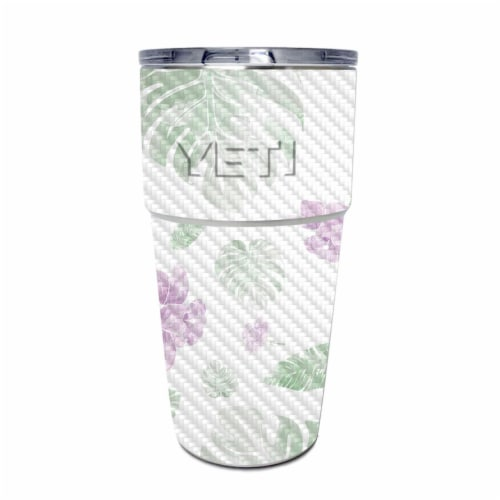 MightySkins CF-YEPINT16SI-Water Color Flowers Carbon Fiber Skin for Yeti Rambler 16 oz Stacka Perspective: front