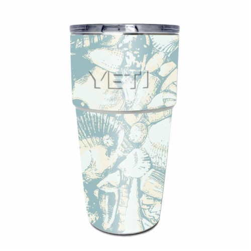 MightySkins YEPINT16SI-Blue Seashells Skin for Yeti Rambler 16 oz Stackable Cup - Blue Seashe Perspective: front