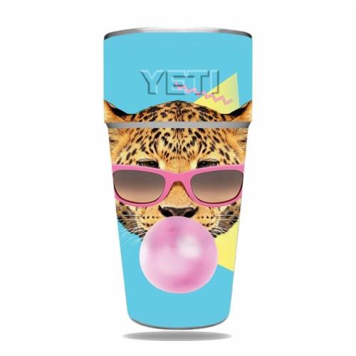 MightySkins CF-YERAM26SI-Bubble Gum Cheetah Carbon Fiber Skin for Yeti Rambler 26 oz Stackabl Perspective: front