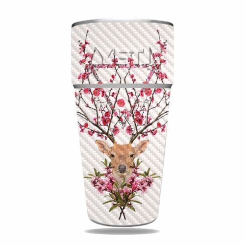 MightySkins CF-YERAM26SI-Spring Deer Carbon Fiber Skin for Yeti Rambler 26 oz Stackable Cup - Perspective: front