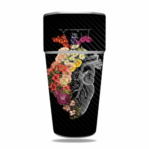 MightySkins CF-YERAM26SI-Spring Heart Carbon Fiber Skin for Yeti Rambler 26 oz Stackable Cup Perspective: front