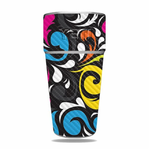 MightySkins CF-YERAM26SI-Swirly Carbon Fiber Skin for Yeti Rambler 26 oz Stackable Cup - Swir Perspective: front