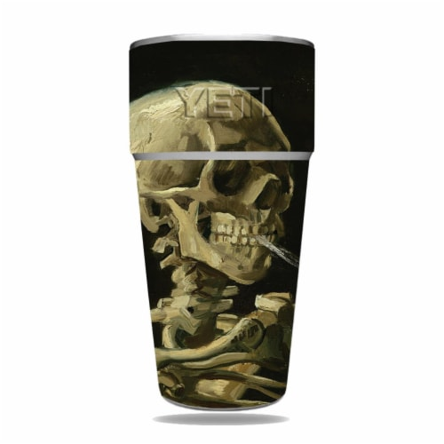MightySkins YERAM26SI-Skull With Cigarette Skin for Yeti Rambler 26 oz Stackable Cup - Skull Perspective: front