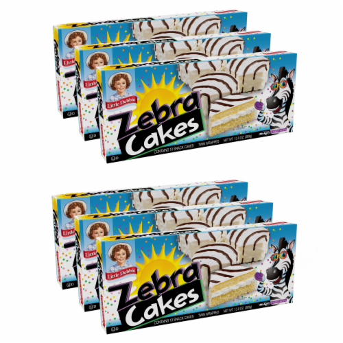 Zebra Cakes, 6 Boxes, 30 Twin-Wrapped Yellow Cakes with Crème Filling and White Icing Perspective: front