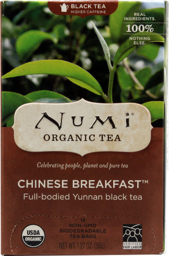 Numi Organic Chinese Breakfast Tea Bags 18 Count Perspective: front