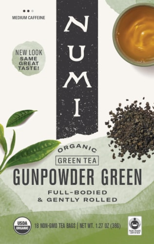 Numi Gunpowder Green Organic Green Tea Bags Perspective: front