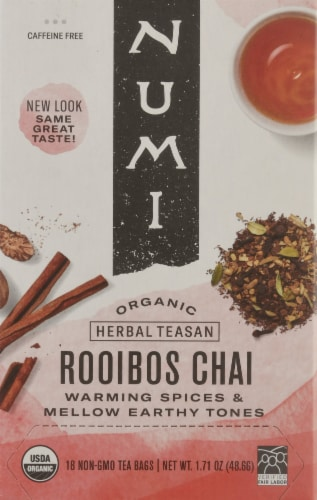 Numi Organic Spiced Rooibos Chai Tea Bags Perspective: front