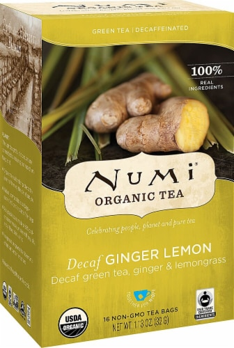 Numi  Organic Tea Decaf   Ginger Lemon Perspective: front