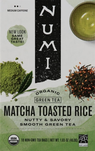 Numi Organic Match Toasted Rice Green Tea Bags Perspective: front