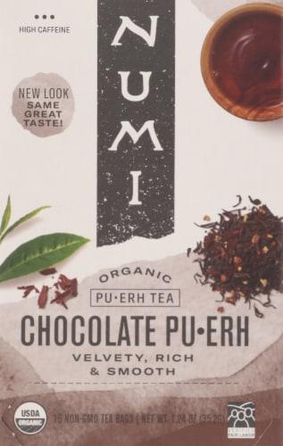Numi Organic Chocolate Pu-Erh Tea Bags Perspective: front