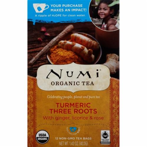 Numi Organic Turmeric Three Roots Tea Perspective: front