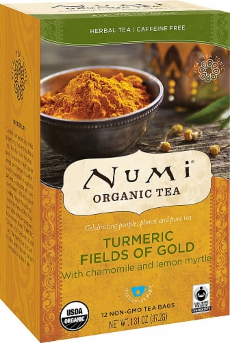 Numi  Organic Turmeric Tea   Fields of Gold Perspective: front