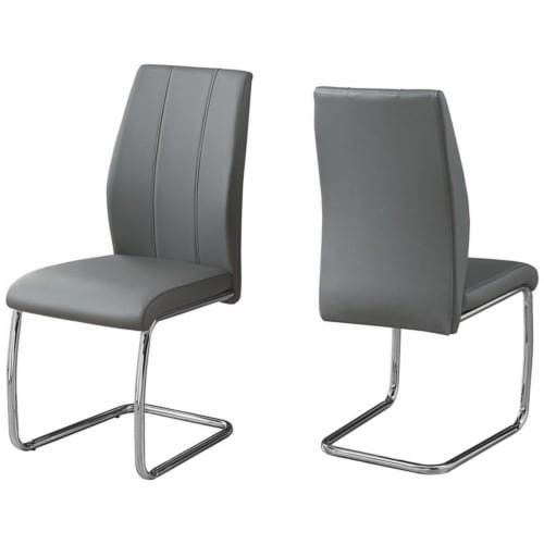 Monarch Faux Leather Dining Side Chair in Gray (Set of 2) Perspective: front