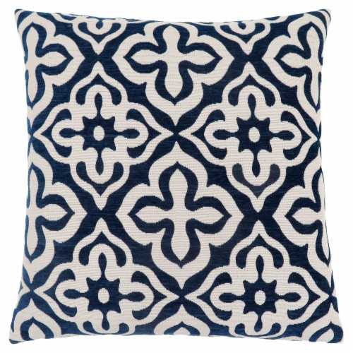 Pillow - 18 X 18  / Dark Blue Motif Design / 1Pc Perspective: front