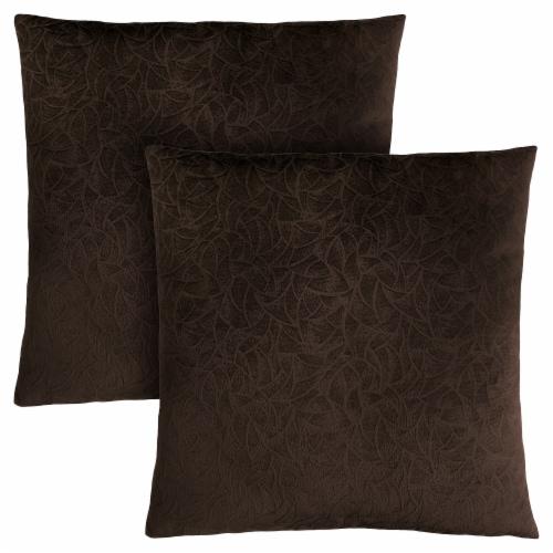 Pillow - 18 X 18  / Dark Brown Floral Velvet / 2Pcs Perspective: front