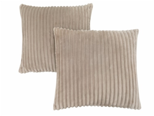 Pillow - 18 X 18  / Beige Ultra Soft Ribbed Style / 2Pcs Perspective: front