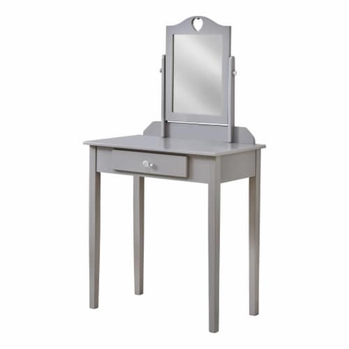 Monarch Contemporary Wooden Bedroom Vanity With Mirror in Gray Perspective: front