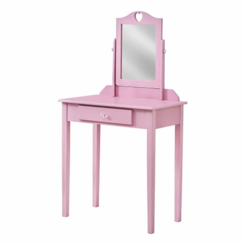 Monarch Contemporary Wooden Bedroom Vanity With Mirror in Pink Perspective: front