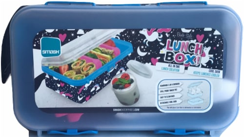 Smash All in One Bento Style Lunch Box - Diva Blue Perspective: front