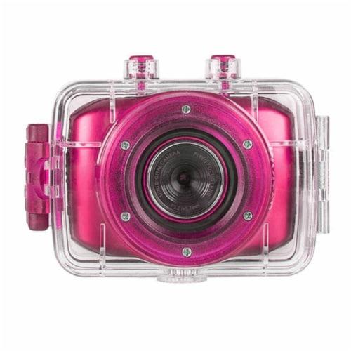 Vivitar Dvr781hd Hd Waterproof Action Video Camera Camcorder (pink) With Helmet & Bike Mounts Perspective: front