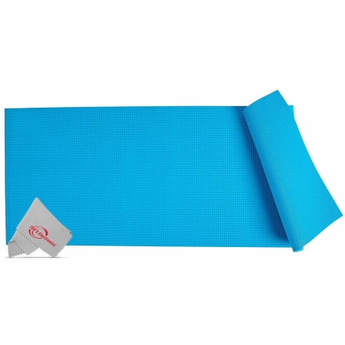 Vivitar Pfv8277 5mm High Density Foam Exercise Roll Up Teal Mat For Yoga Perspective: front