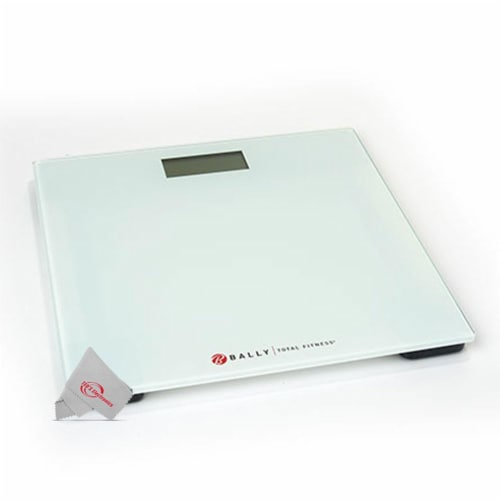 Bally Total Fitness Digital Weighing Bathroom Scale White Up To 400 Lb Capacity Perspective: front